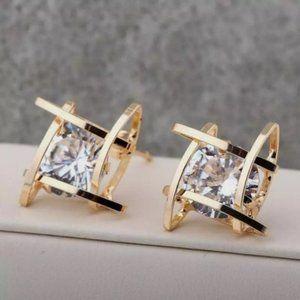 Gold tone CZ earrings